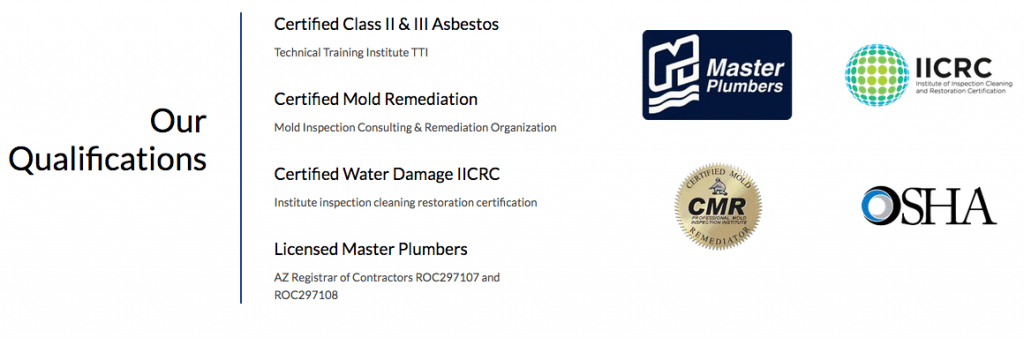 Plumber of Tucson Certifications