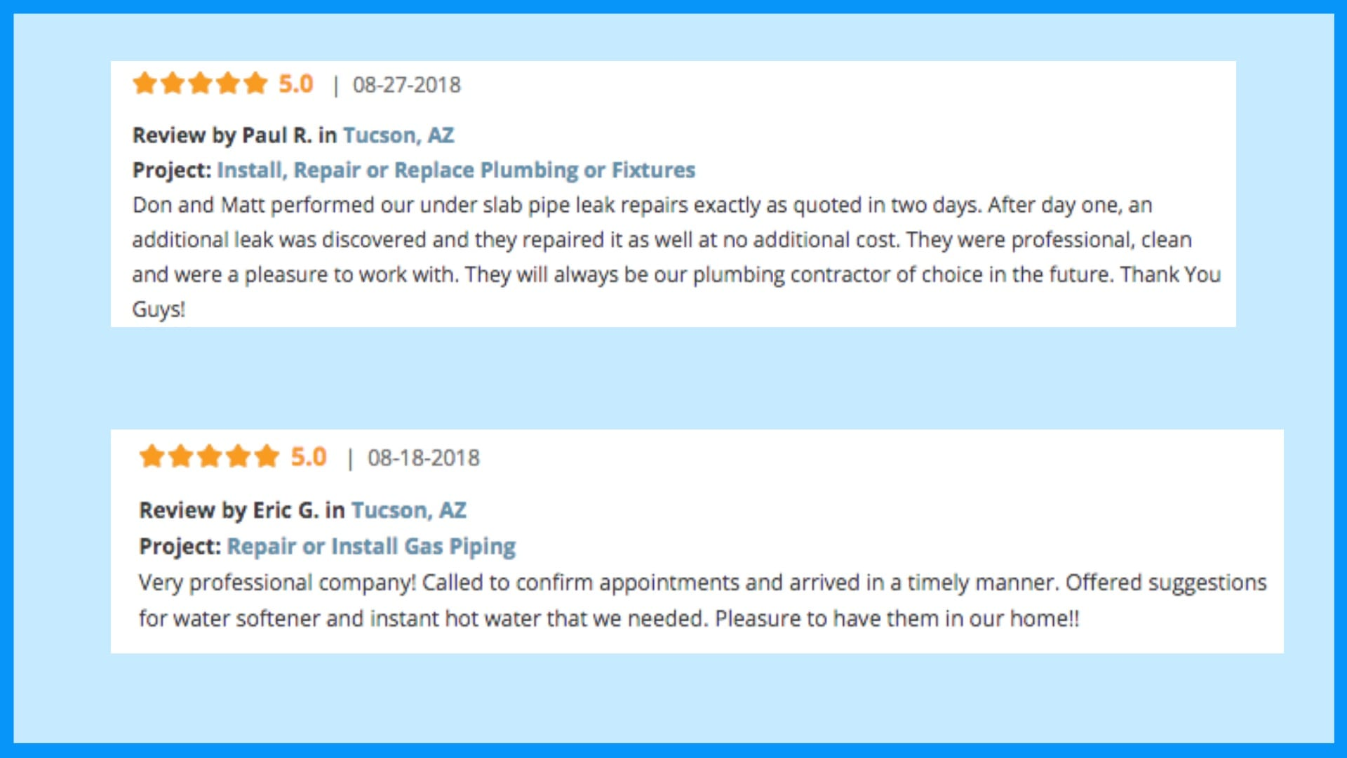 Plumber of Tucson Reviews